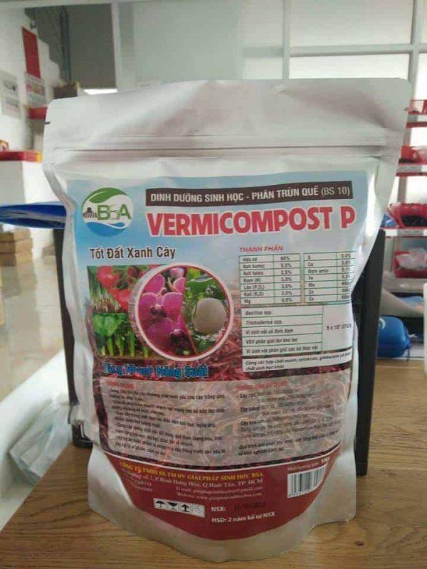 Phân trùn quế Vermicompost tốt đất xanh cây (dạng viên, túi 1kg)