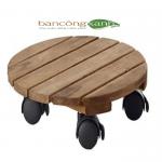 Đế gỗ đặt chậu cây hình tròn có bánh xe di chuyển