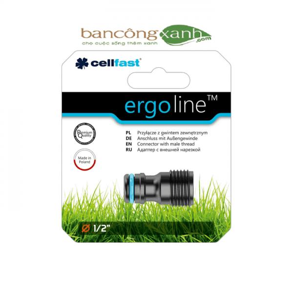 Cút nối ren ngoài cao cấp Cellfast Ergo nối với ren trong 21mm
