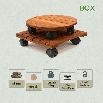 đế gỗ có bánh xe di chuyển