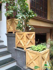 Chậu gỗ trồng cây cao cấp Famifarm Edge Box hình vuông ( E444)