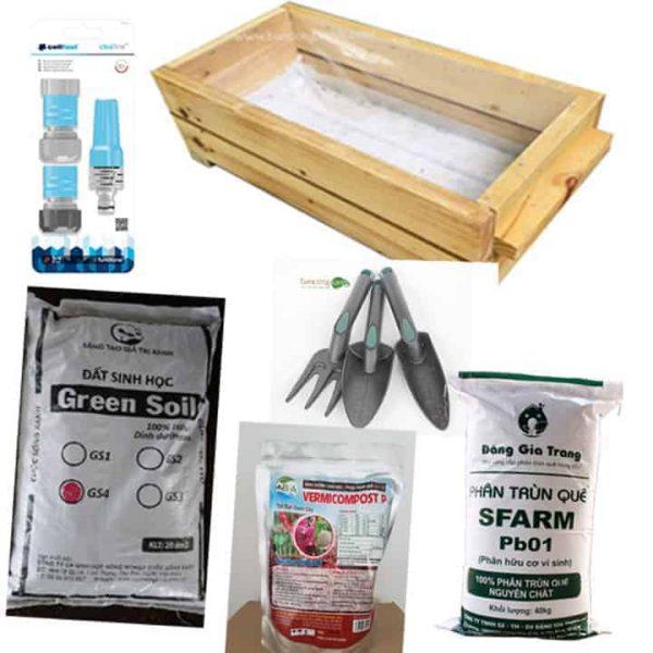 Combo chậu gỗ, đất sạch, phân trùn quế, vòi tưới cây, xẻng làm đất C01