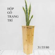 Chậu gỗ trồng cây trang trí thân cao
