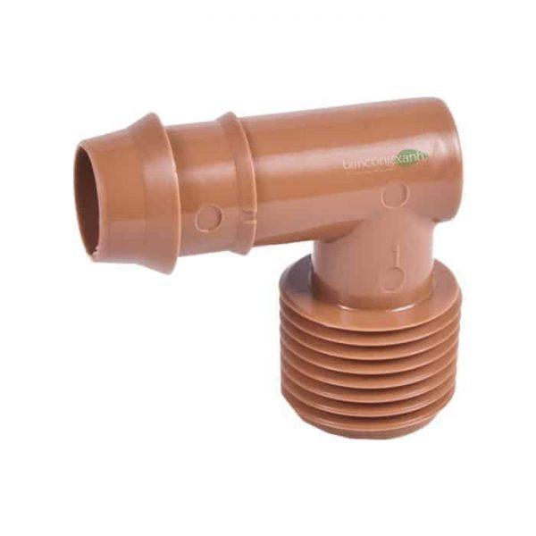 Co nối ống PE DIG 17 mm, ren ngoài 21mm, màu nâu