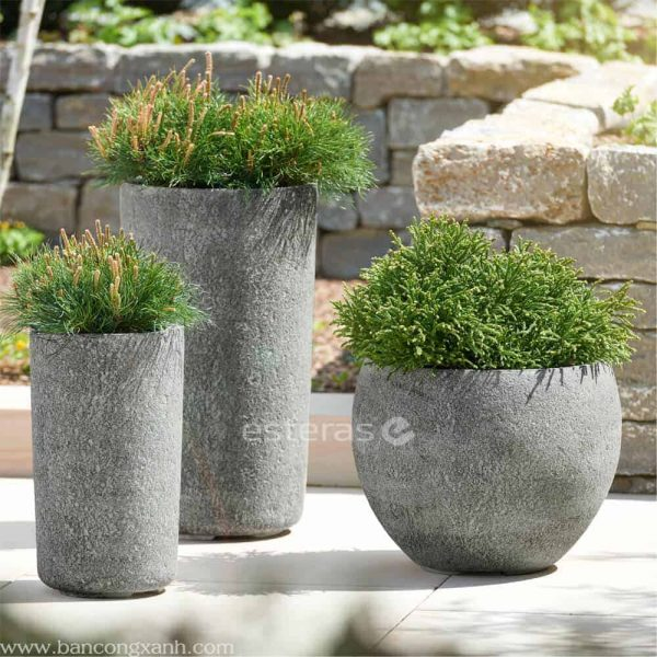 Chậu Composite Esteras Naturelite Woodley Old Stone Grey