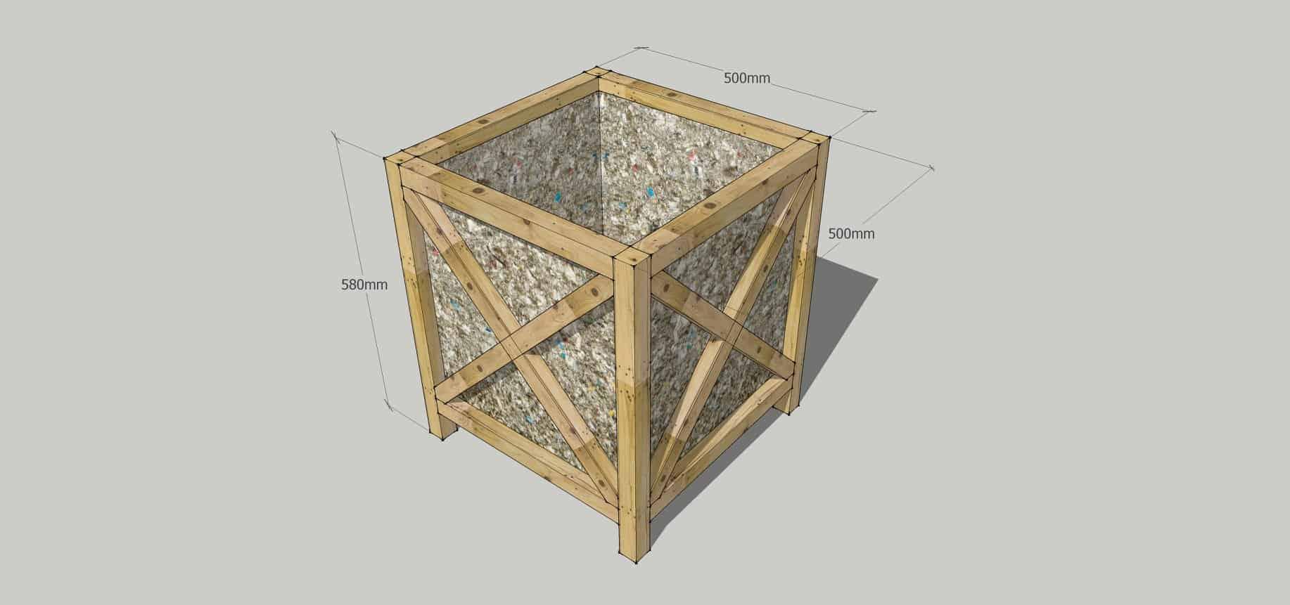 Chậu gỗ làm từ hộp sữa tái chế