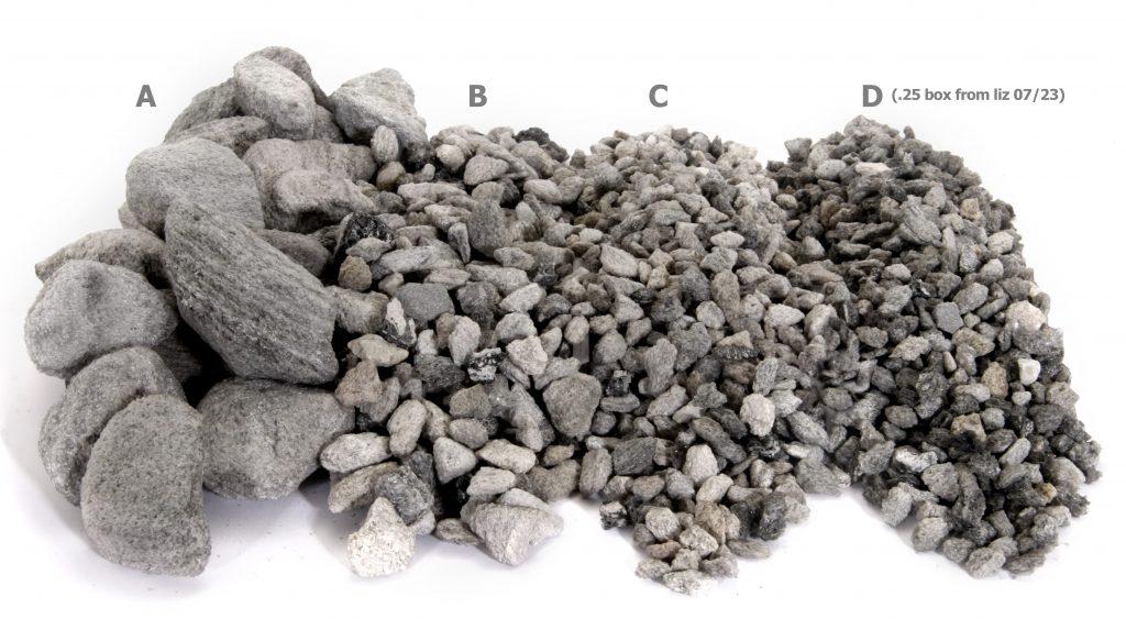 đá pumice có kích cỡ đa dạng